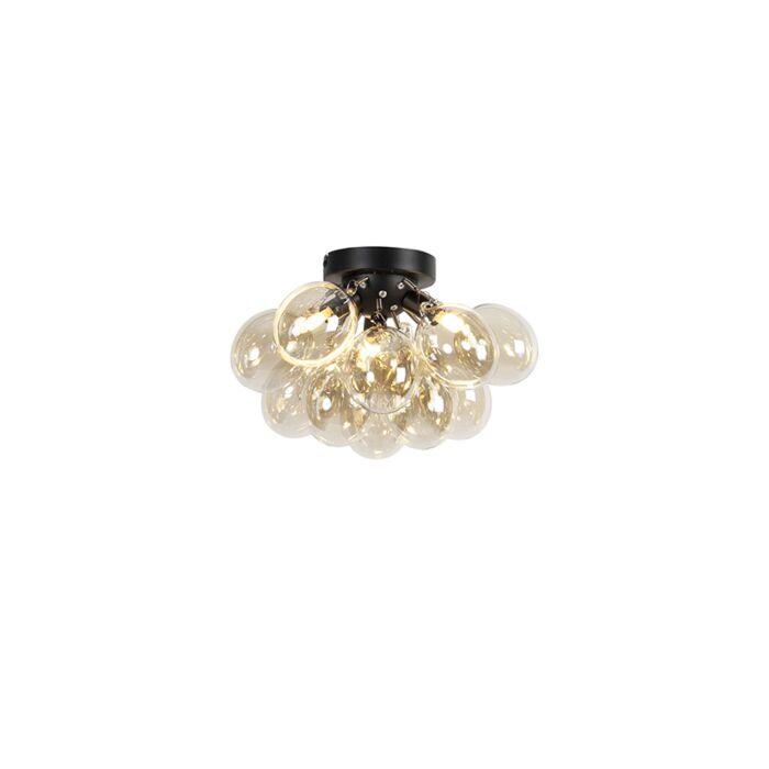 Design-plafondlamp-zwart-met-amber-glas-3-lichts---Uvas