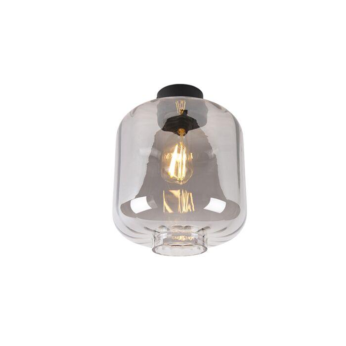 Design-plafondlamp-zwart-met-smoke-glas---Qara