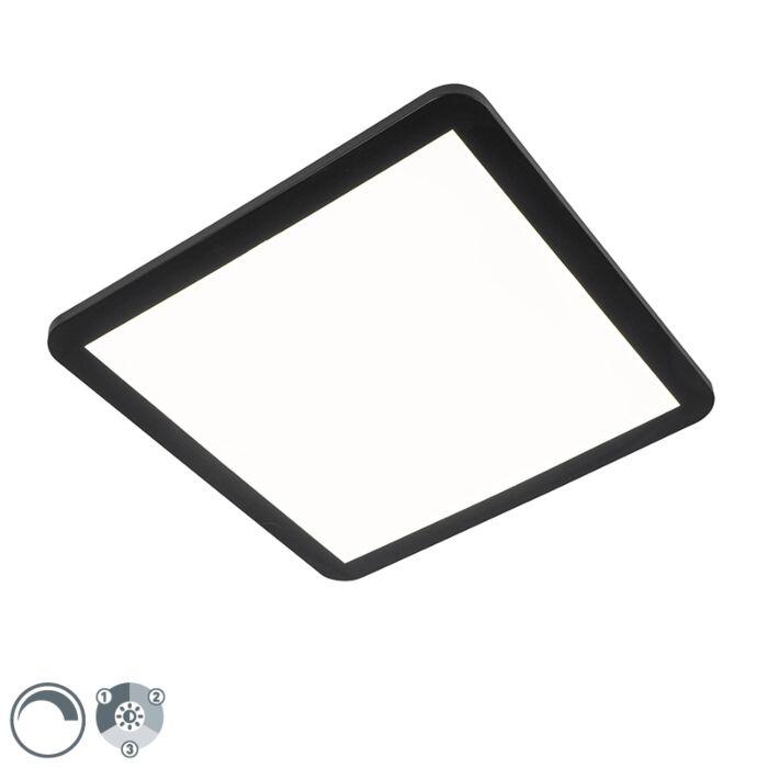 Plafonnière-zwart-40-cm-incl.-LED-3-staps-dimbaar-IP44---Steve