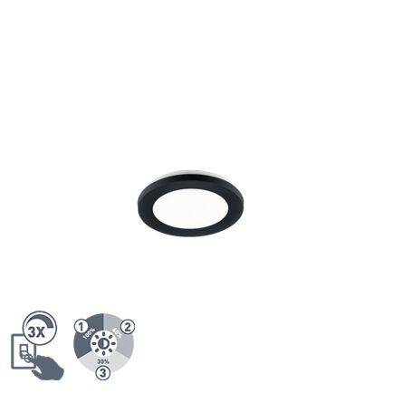 Plafonnière-zwart-17-cm-incl.-LED-3-staps-dimbaar-IP44---Lope