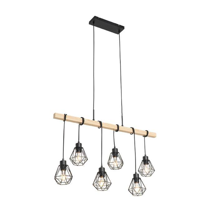 Landelijke-hanglamp-zwart-met-hout-6-lichts---Chon