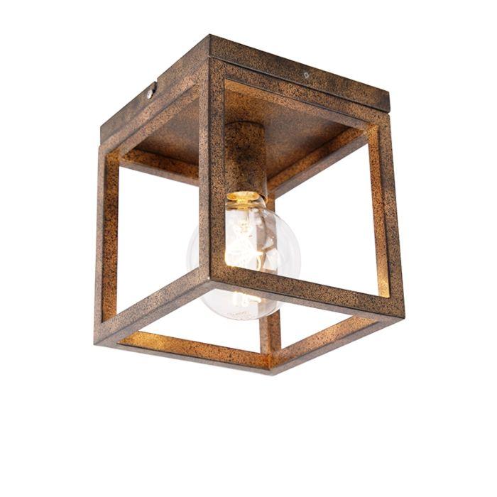 Industriële-plafondlamp-roestbruin---Cage