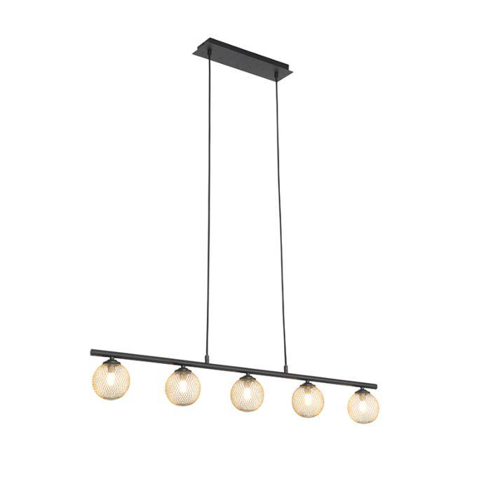 Moderne-hanglamp-zwart-met-goud-100-cm-5-lichts---Athens-Wire