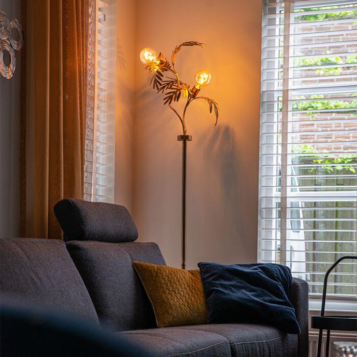 Vintage-vloerlamp-goud-2-lichts---Botanica
