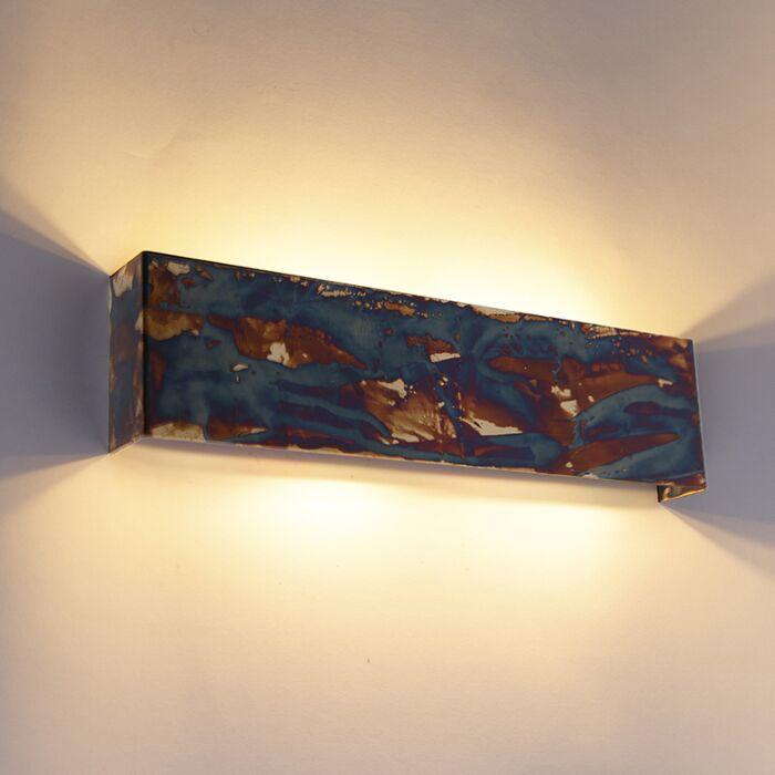 Industriële-wandlamp-roest-met-blauw-4-lichts---Justin
