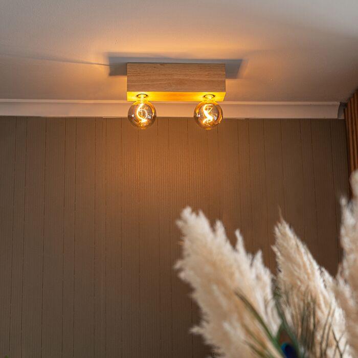 Landelijke-plafondspot-naturel-hout-2-lichts---Bloc