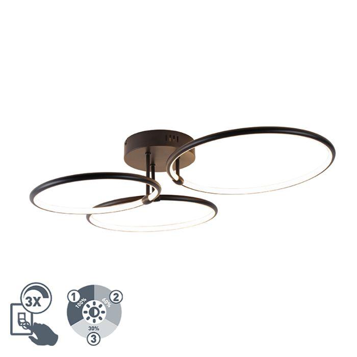 Design-plafondlamp-zwart-incl.-LED-3-staps-dimbaar-3-lichts---Joaniqa