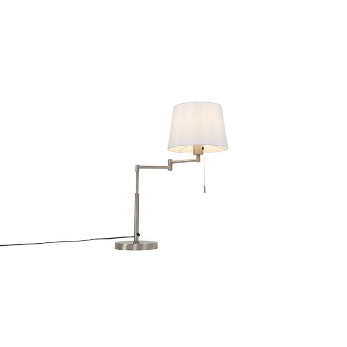 Tafellamp-staal-met-witte-kap-en-verstelbare-arm---Ladas-Deluxe