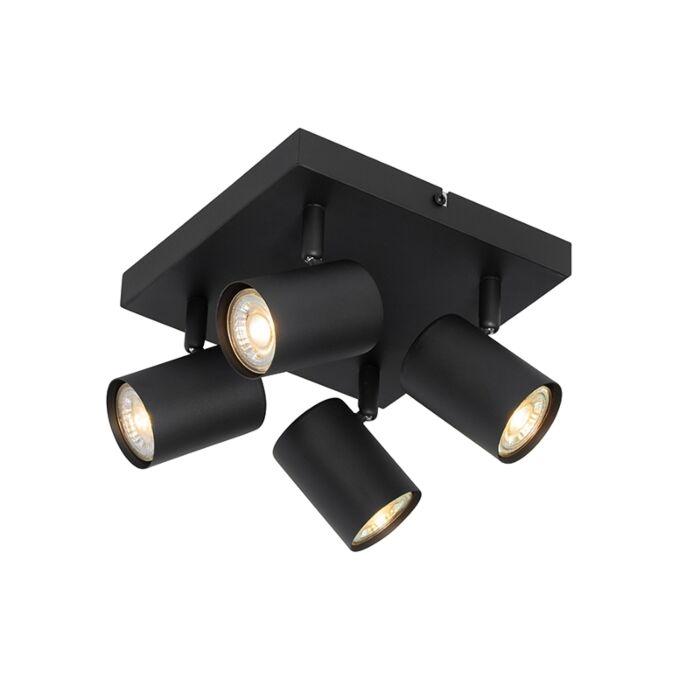 Moderne-plafondlamp-zwart-4-lichts-verstelbaar---Jeana