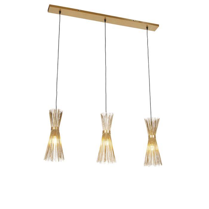 Landelijke-hanglamp-goud-3-lichts---Broom