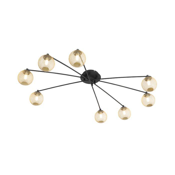 Moderne-plafondlamp-zwart-met-goud-8-lichts---Athens-Wire