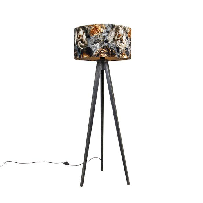 Vloerlamp-tripod-zwart-met-kap-bloemen-50-cm---Tripod-Classic