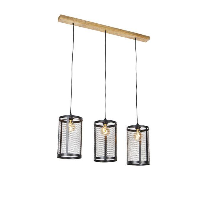 Industriële-hanglamp-zwart-met-hout-3-lichts---Cage-Robusto
