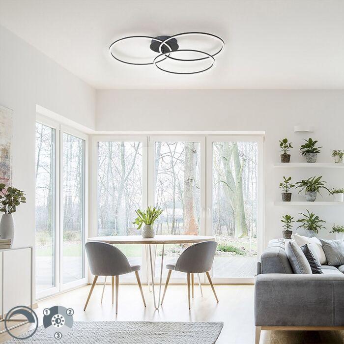 Plafondlamp-zwart-incl.-LED-3-staps-dimbaar-3-lichts---Julka