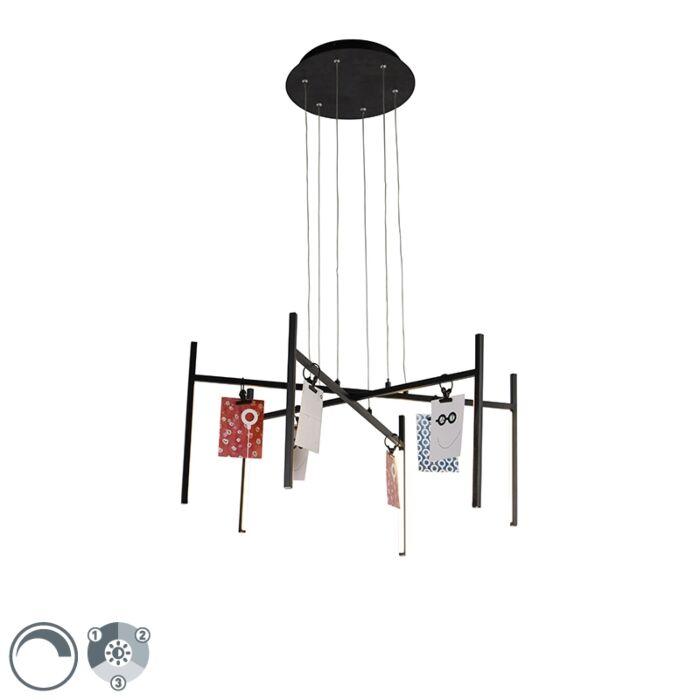 Design-hanglamp-zwart-3-staps-dimbaar-6-lichts---Kroon