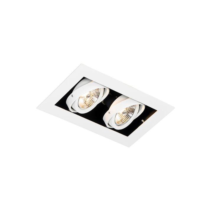 Moderne-inbouwspot-wit-2-lichts-verstelbaar---Oneon-70