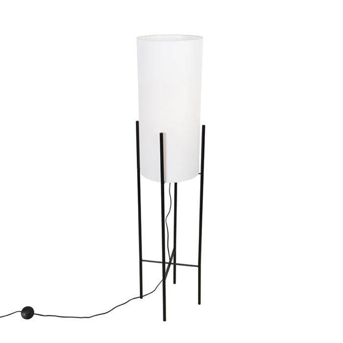 Moderne-vloerlamp-zwart-met-linnen-witte-kap---Rich