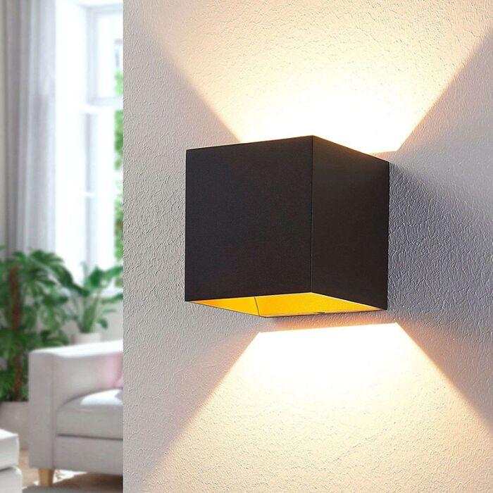 Moderne-wandlamp-zwart-incl.-LED-met-gouden-binnenkant---Aldrina