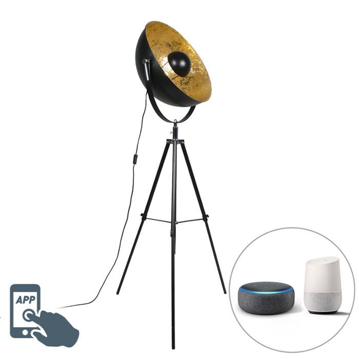 Industriële-smart-vloerlamp-zwart-tripod-incl.-WiFi-A60---Magna-50-Eglip