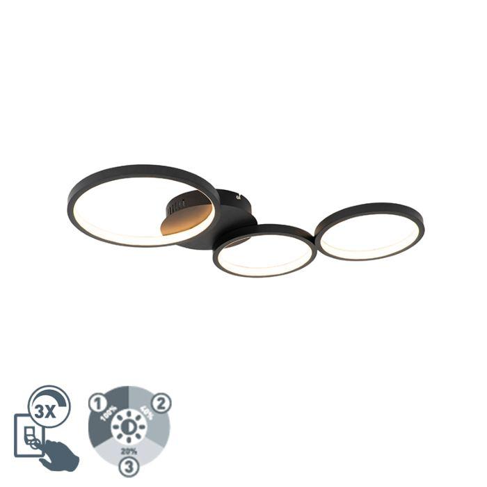 Plafondlamp-zwart-incl.-LED-3-staps-dimbaar-3-lichts---Pande