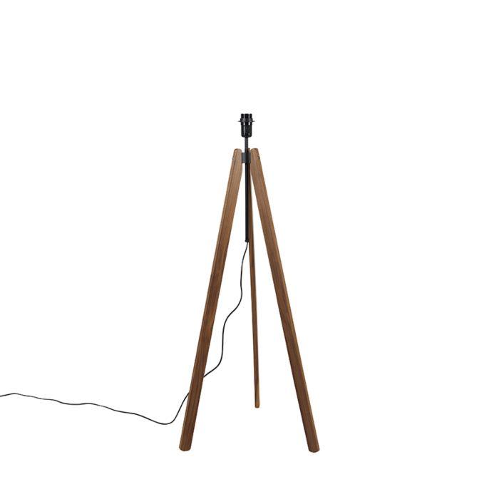 Landelijke-vloerlamp-tripod-noten-hout---Telu