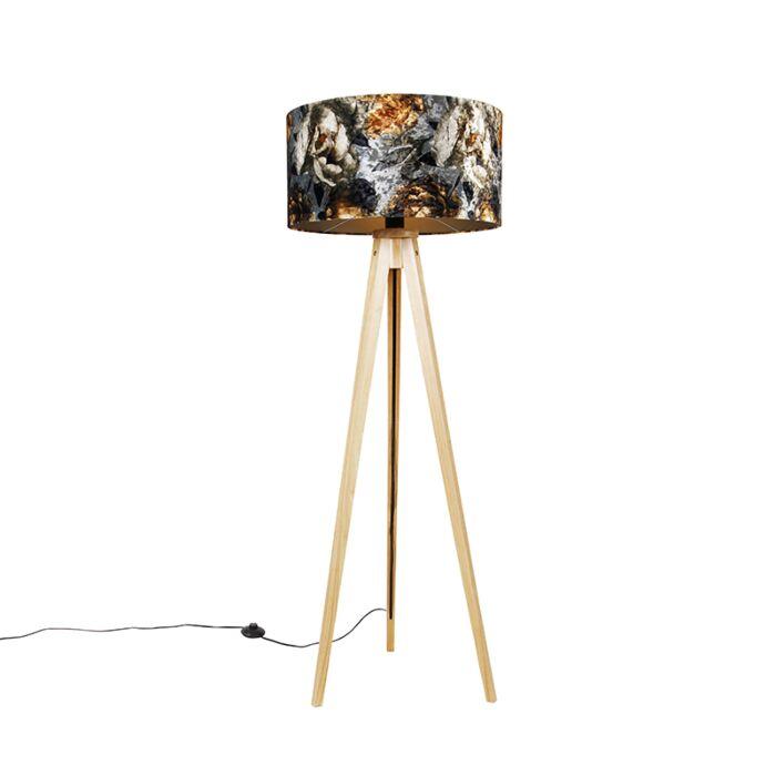 Vloerlamp-hout-met-stoffen-kap-bloemen-50-cm---Tripod-Classic