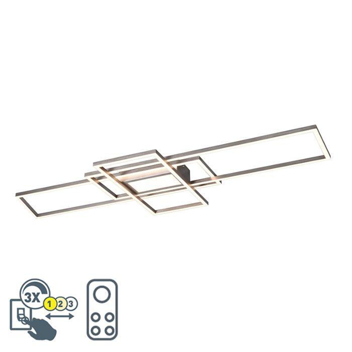 Plafonnière-staal-incl.-LED,-afstandsbediening-3-staps-dimbaar---Riha