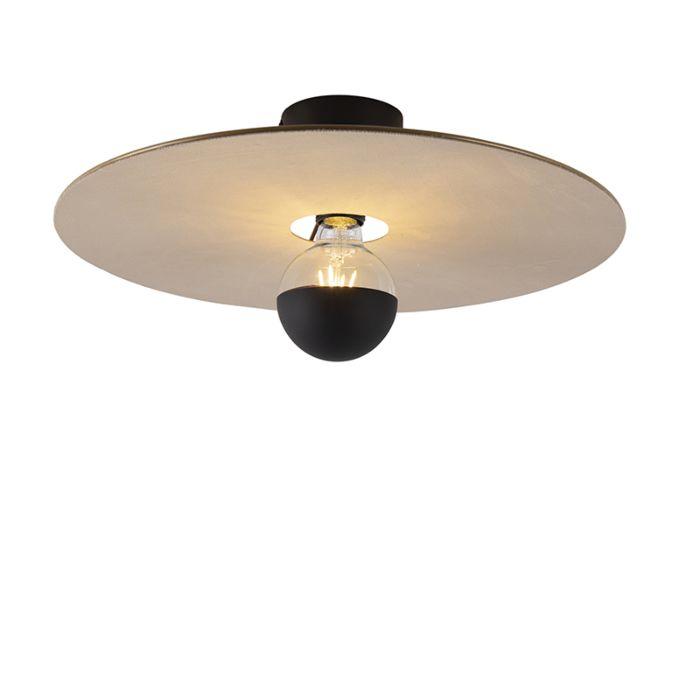 Plafondlamp-zwart-platte-kap-taupe-45-cm---Combi
