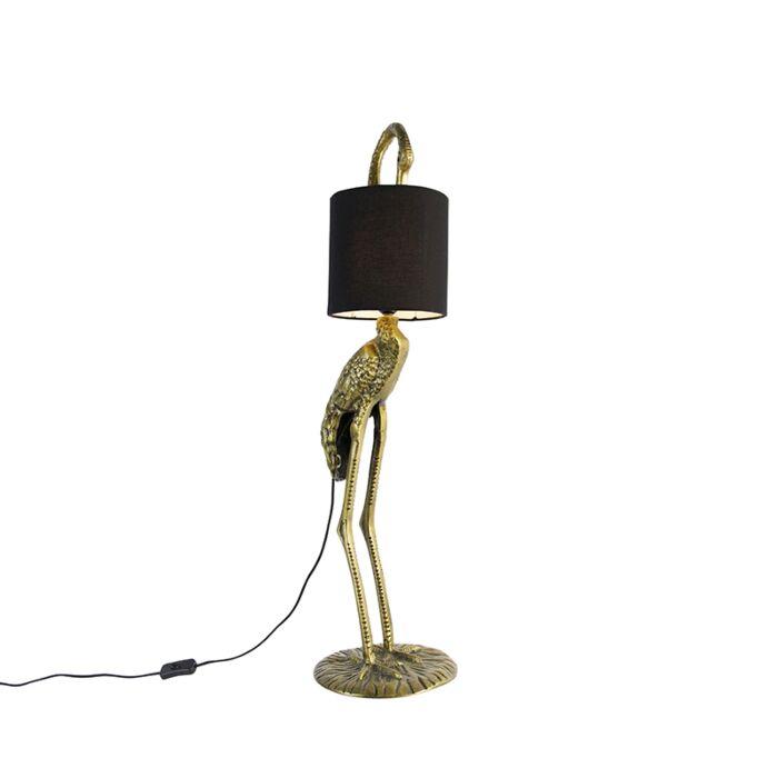Vintage-vloerlamp-messing-stoffen-kap-zwart---Kraanvogel