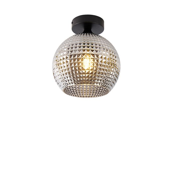 Art-Deco-plafondlamp-zwart-met-smoke-glas---Sphere