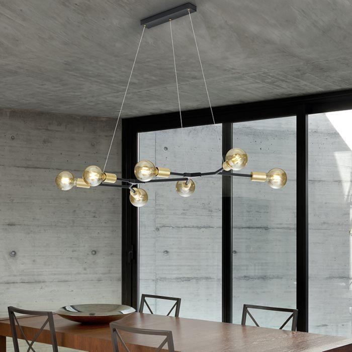 Design-hanglamp-zwart-met-goud-7-lichts---Dirk