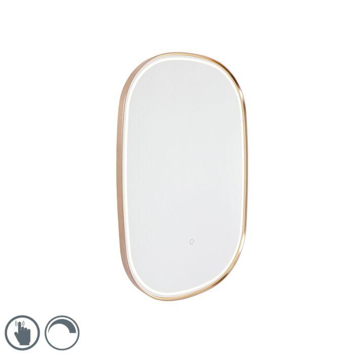 Badkamerspiegel-koper-incl.-LED-met-touch-dimmer-ovaal---Miral