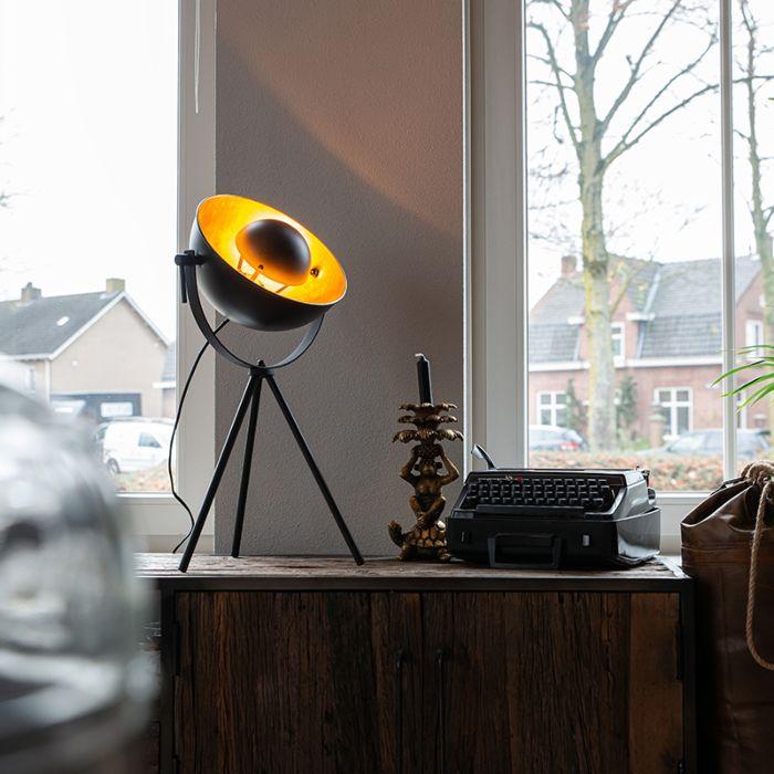 Tafellamp-zwart-met-goud-63,3-cm-tripod-verstelbaar---Magnax
