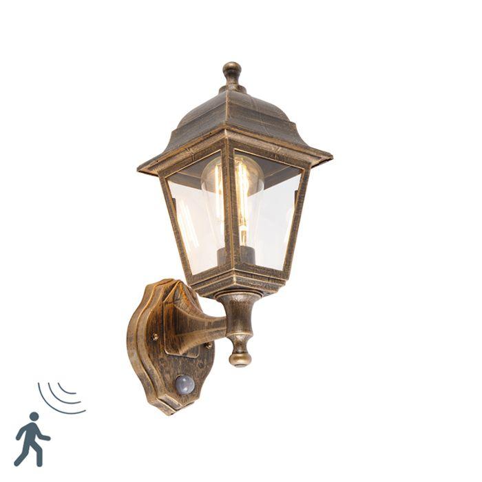 Antieke-wandlamp-goud-IP44-met-bewegingsmelder---Capital