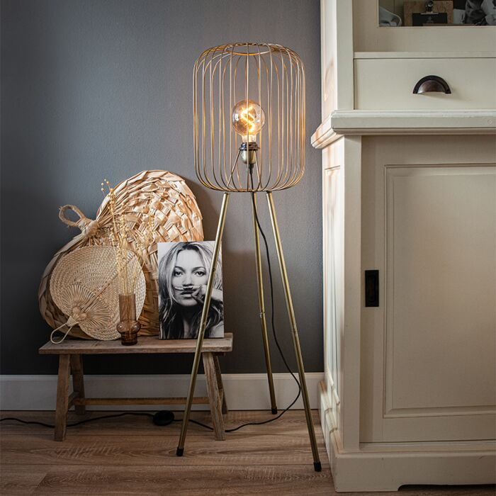 Moderne-vloerlamp-messing-tripod---Wire