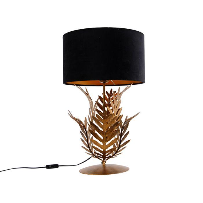 Vintage-tafellamp-goud-met-velours-kap-zwart-35-cm---Botanica