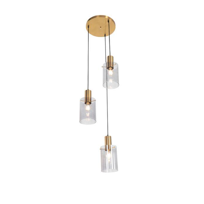 Moderne-hanglamp-messing-met-smoke-glas-3-lichts---Vidra