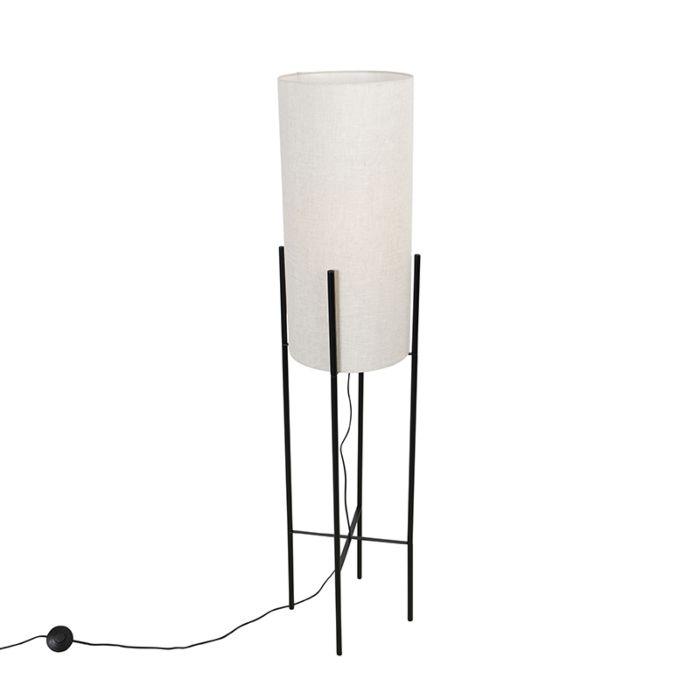 Design-vloerlamp-zwart-linnen-kap-grijs---Rich