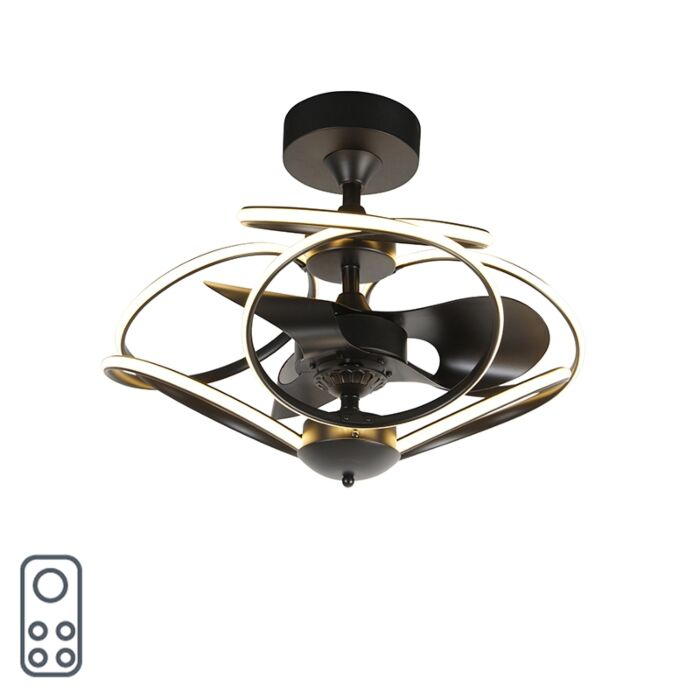 Design-plafondventilator-zwart-met-afstandsbediening-incl.-LED---Kauv