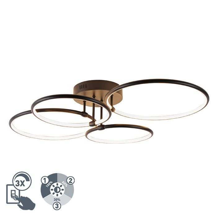 Plafondlamp-zwart-incl.-LED-3-staps-dimbaar-4-lichts---Joaniqa