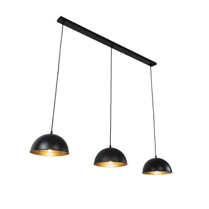 Industriële-hanglamp-zwart-met-goud-3-lichts---Magnax