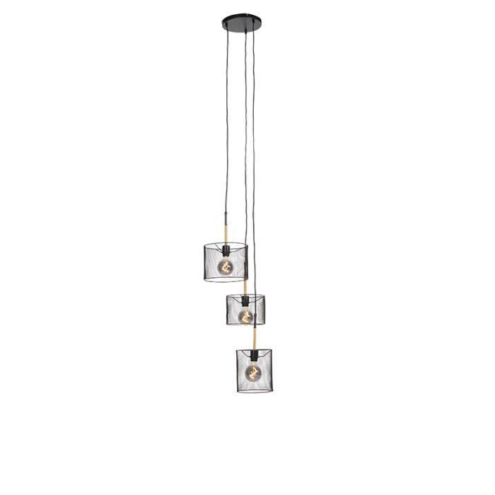 Industriële-hanglamp-zwart-3-lichts---Drum-Mesh