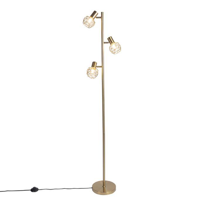 Design-vloerlamp-goud-3-lichts-verstelbaar---Mesh