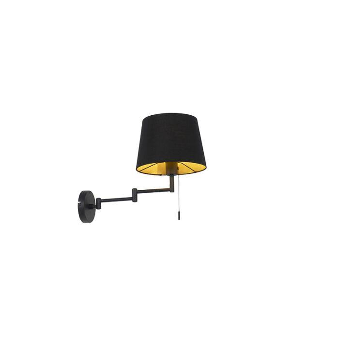 Wandlamp-zwart-met-zwarte-kap-en-verstelbare-arm---Ladas