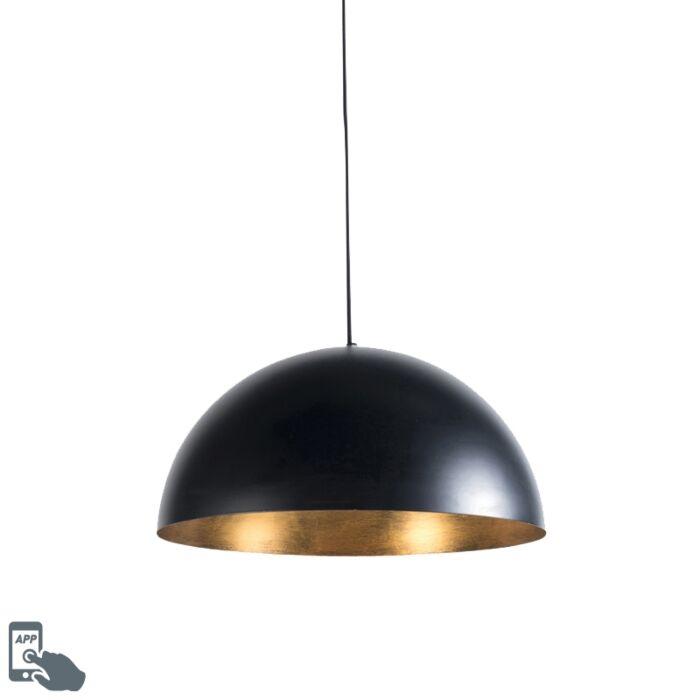 Smart-industriële-hanglamp-zwart-met-goud-50-cm-incl.-Wifi-G125---Magna-Eco