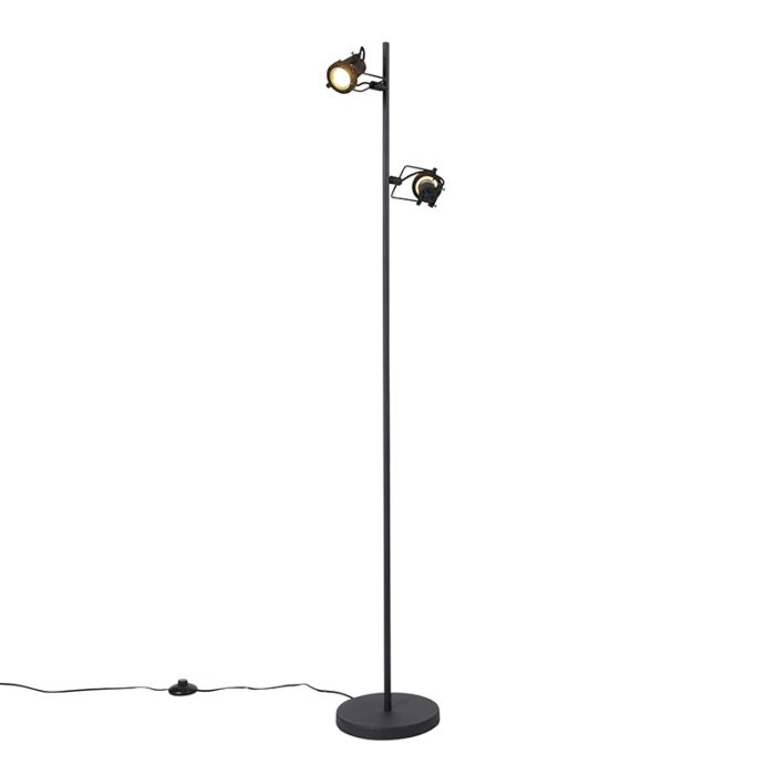 Industriële-vloerlamp-zwart-2-lichts---Suplux