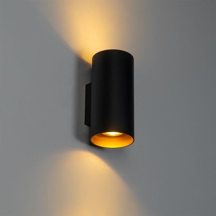 Design-wandlamp-zwart-met-goud---Sab