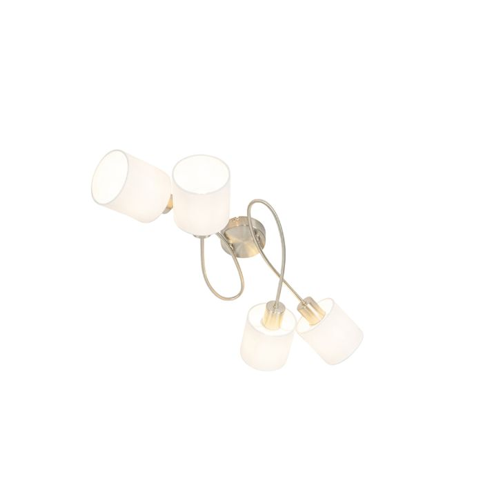 Moderne-plafondlamp-staal-met-witte-kappen-4-lichts---Hetta