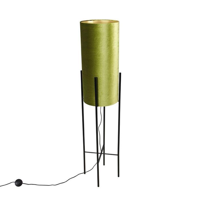 Design-vloerlamp-zwart-velours-kap-groen-met-goud---Rich
