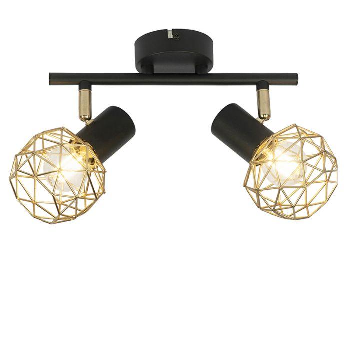 Design-spot-zwart-met-goud-2-lichts---Mesh